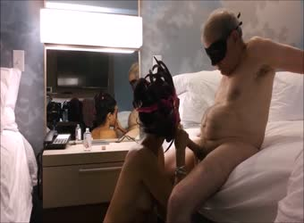 Grandpa gets his dick sucked by his hot trophy wife