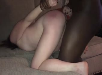 Shared wife cums on his black mouth and cock