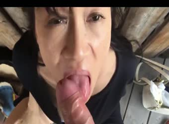 Asian milf sucking dick in public broad daylight