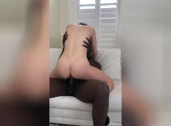 My wifes gaped wet pussy on his black rod