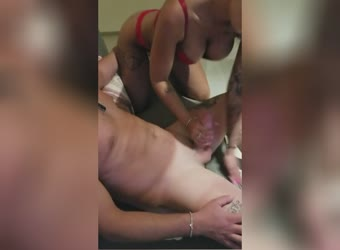 Sexy blond wife stroking and sucking hubbys friend