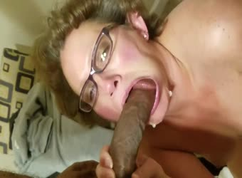 Granny get a big juicy load of black cum in her mouth